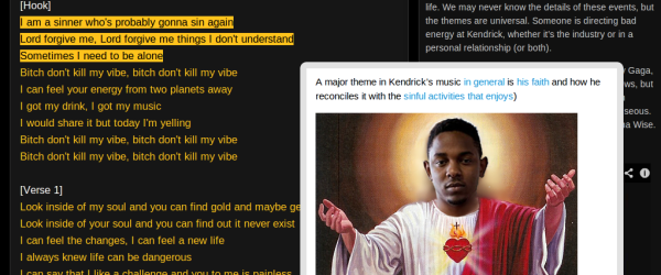 screenshot from rap genius