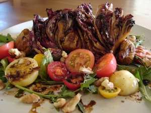 Indian summer grilled fig and radhiccio on a rosemary skewer