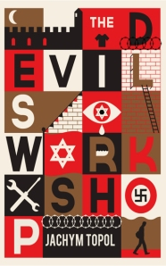 Book cover featuring a grid with soviet, nazi, and jewish symbols