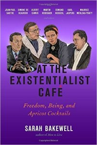 Cover of At The Existentialist Cafe featuring four philosophers facing each other as if in conversation